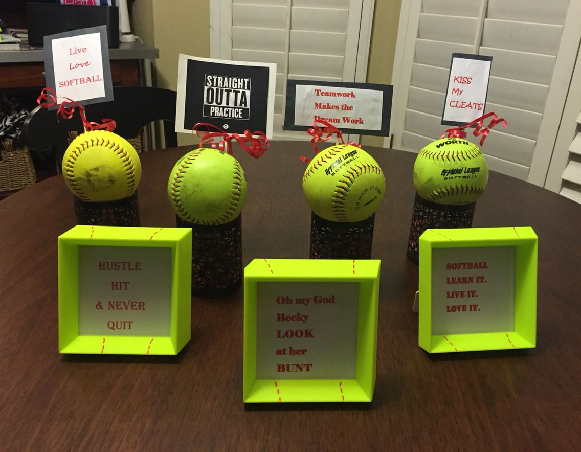 Softball centerpieces mini frame quotes party favors
