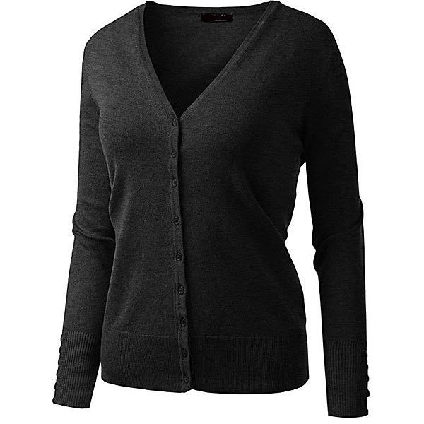 Ami Sanzuri Charcoal V- Neck Button-Up Cardigan (31 AUD) ❤ liked on Polyvore featuring tops, cardigans, plus size, plus size cardigans, button down cardigan, plus size tops, rayon cardigan and v neck cardigan