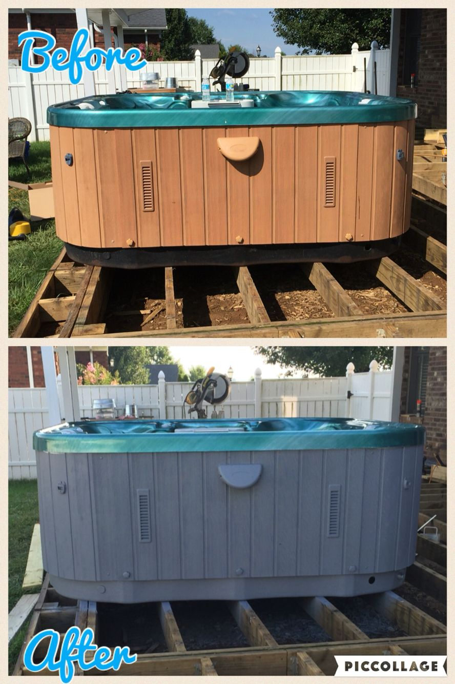 Refinished Hot Tub Cabinet Using Valspar Exterior Primer And Paint