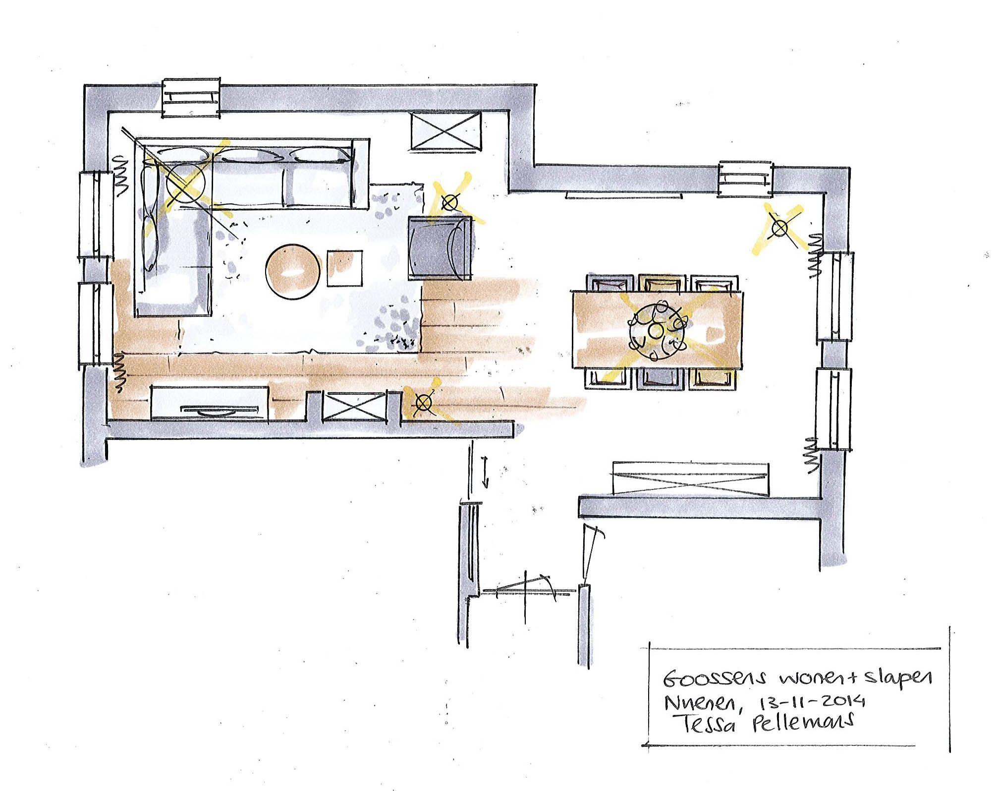 plattegrond woonkamer, gratis interieuradvies door Goossens wonen en ...