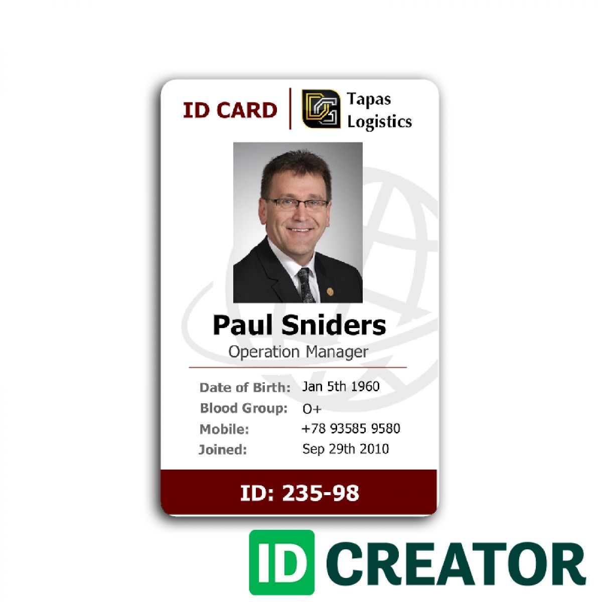 Id Card Template Recent Visualize 1 Front Of Id Employee 232 Within Employee Card Template Word Cumed Org Employee Id Card Id Card Template Employees Card