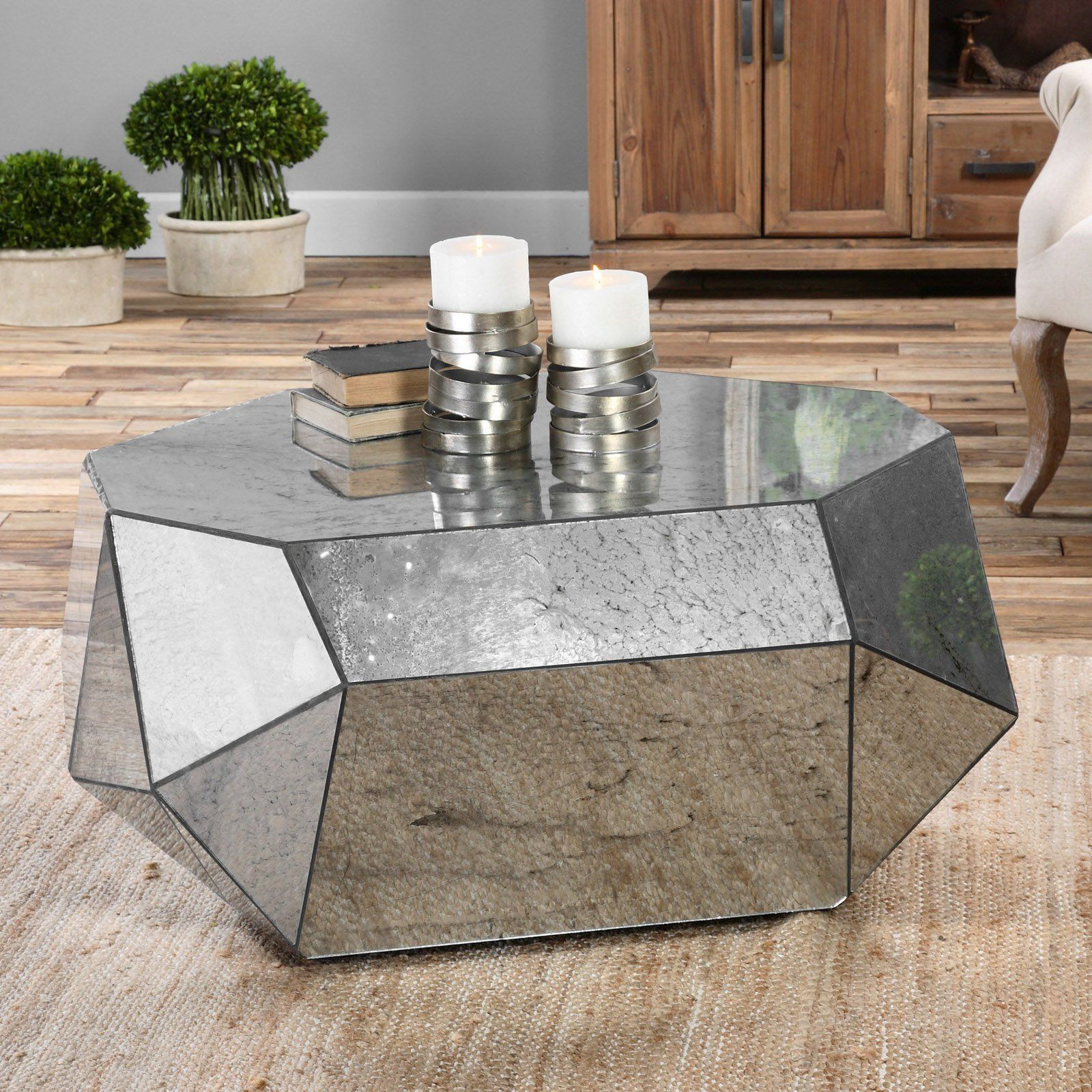 Uttermost Antheia Antiqued Mirror Coffee Table Free Your Living