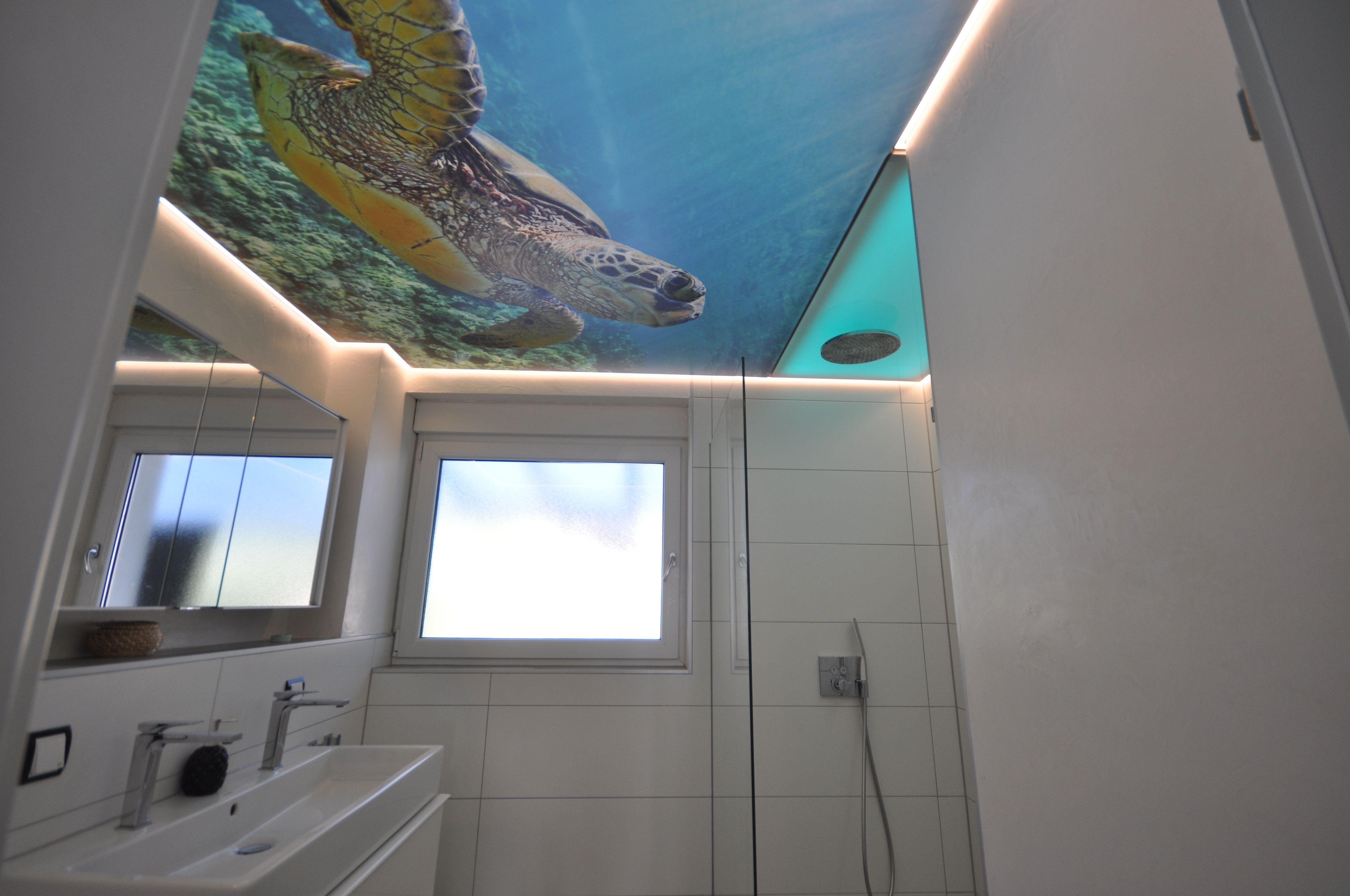 Bedruckte Badezimmer Spanndecke In 2020 Spanndecken Led Band Decke