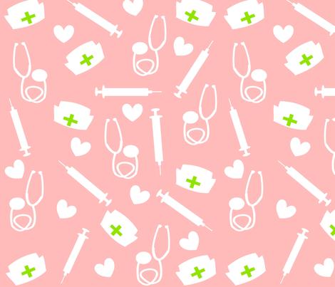 Colorful Fabrics Digitally Printed By Spoonflower Nurse Tools In Pink Ed Ed In 2020 Nursing Wallpaper Medical Wallpaper Nurse Tools