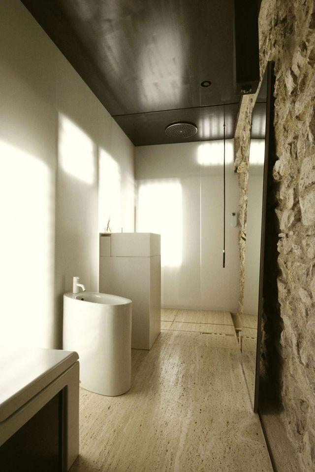 rustikal trifft auf modern badezimmer boden stein verkleidung raue, Hause ideen