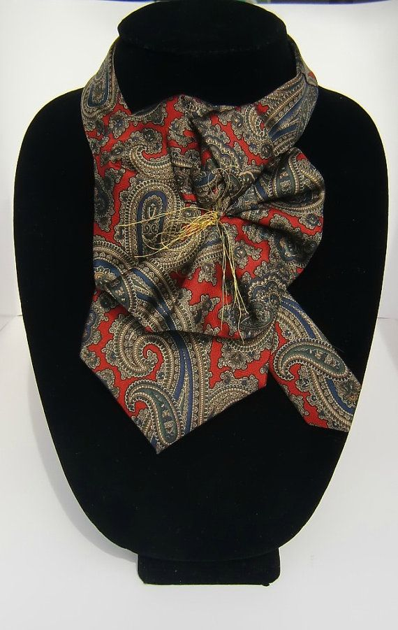 c389aacae4c2 Fashionable Ladies Silk Necktie Scarflette in Red Navy Golden Paisley / Upcycled  Necktie Accessory via Etsy