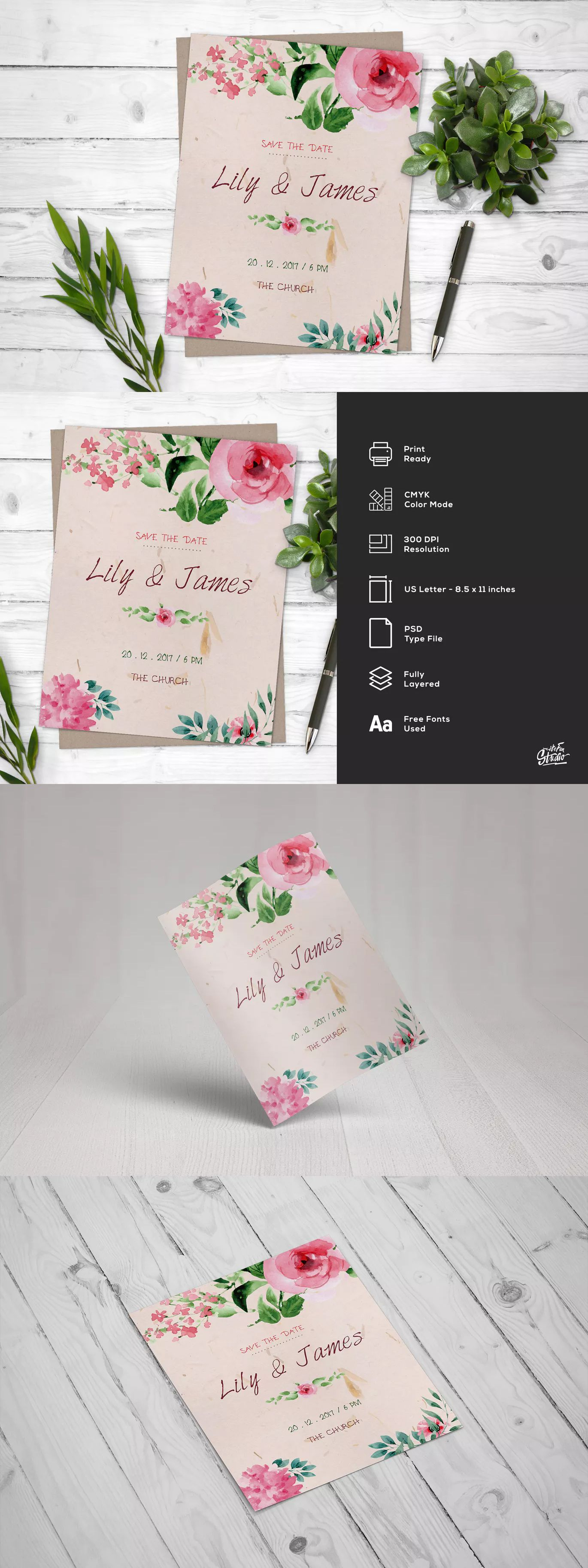 Watercolor Floral Save The Date Wedding Flyer Template Psd Wedding