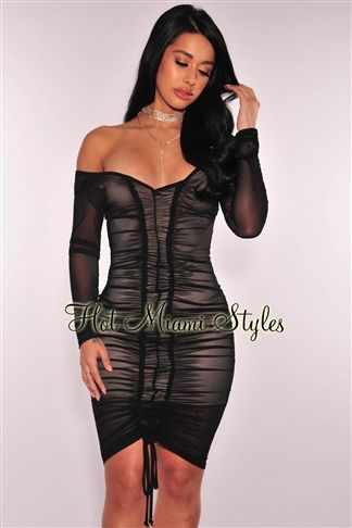 61ac06f110073 Black Sheer Mesh Nude Illusion Ruched Dress in 2019 | Women's ...
