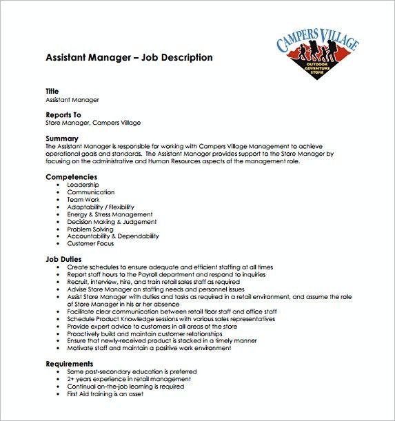 Assistant Store Manager Job Description Free Template , Assistant