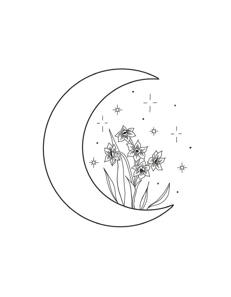 Floral Moon Illustration. PDF Digital Download. Embroidery Pattern. Hand Embroidery. Coloring Page. – Sketchbook