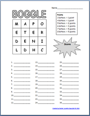 Free Boogle Templates~Because this is in MS Word, you can