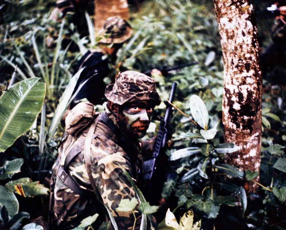 Camouflaged Seals In The Vietnamese Jungle Carrying Stoner
