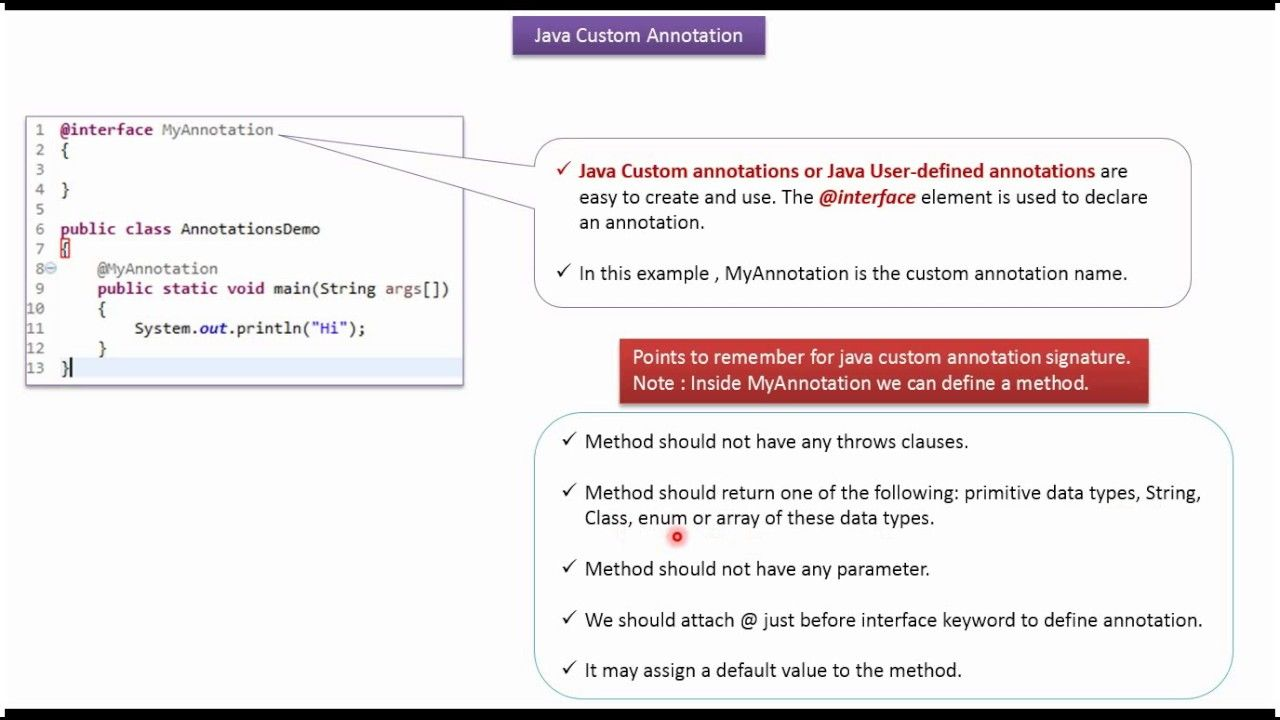 Java tutorial annotations in java how to define a custom or user java tutorial annotations in java how to define a custom or user defin baditri Image collections