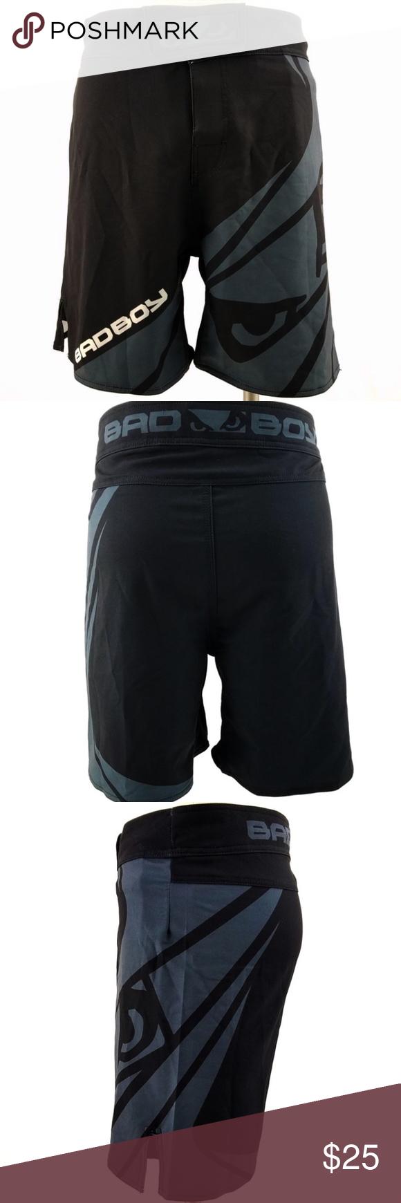 763db5b56 Bad Boy Velocity Black/Grey Stretch Fight Shorts Built-in mouth guard  pocket Graphics