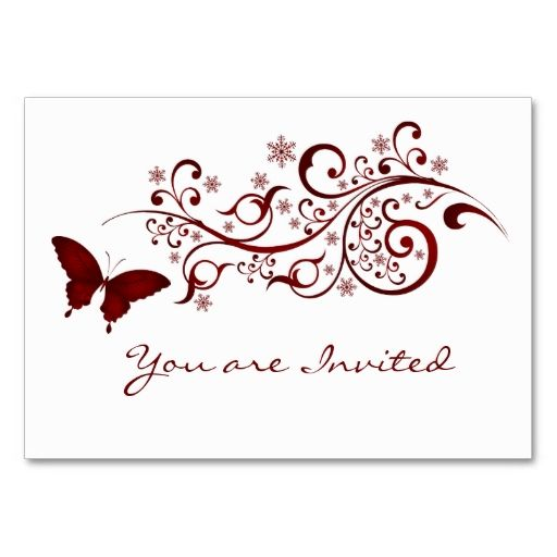 Red Butterfly Wedding Invitation Business Card Template. This great business card design is available for customization. All text style, colors, sizes can be modified to fit your needs. Just click the image to learn more!