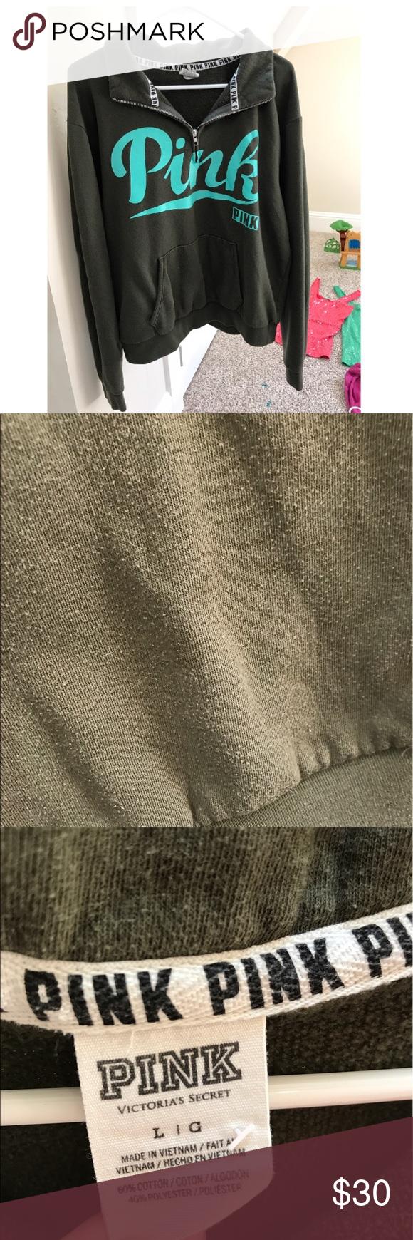 SALE!! PINK Olive Green 1/4 zip sweatshirt Worn condition, dark ...
