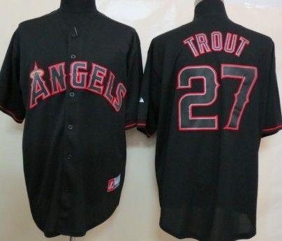 a375d0884 LA Angels of Anaheim  27 Mike Trout 2012 Black Fashion Jersey