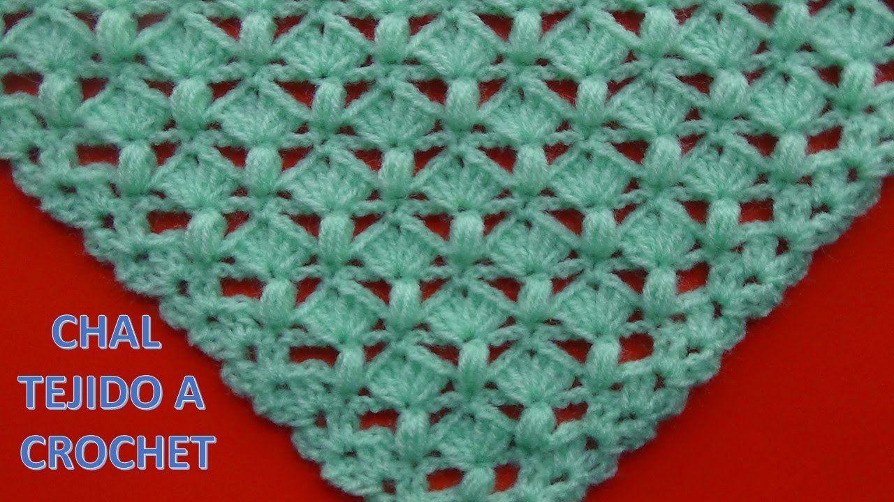 Shawl Tejido a crochet # 5 con punto garbanzo y abanicos   Chales al ...