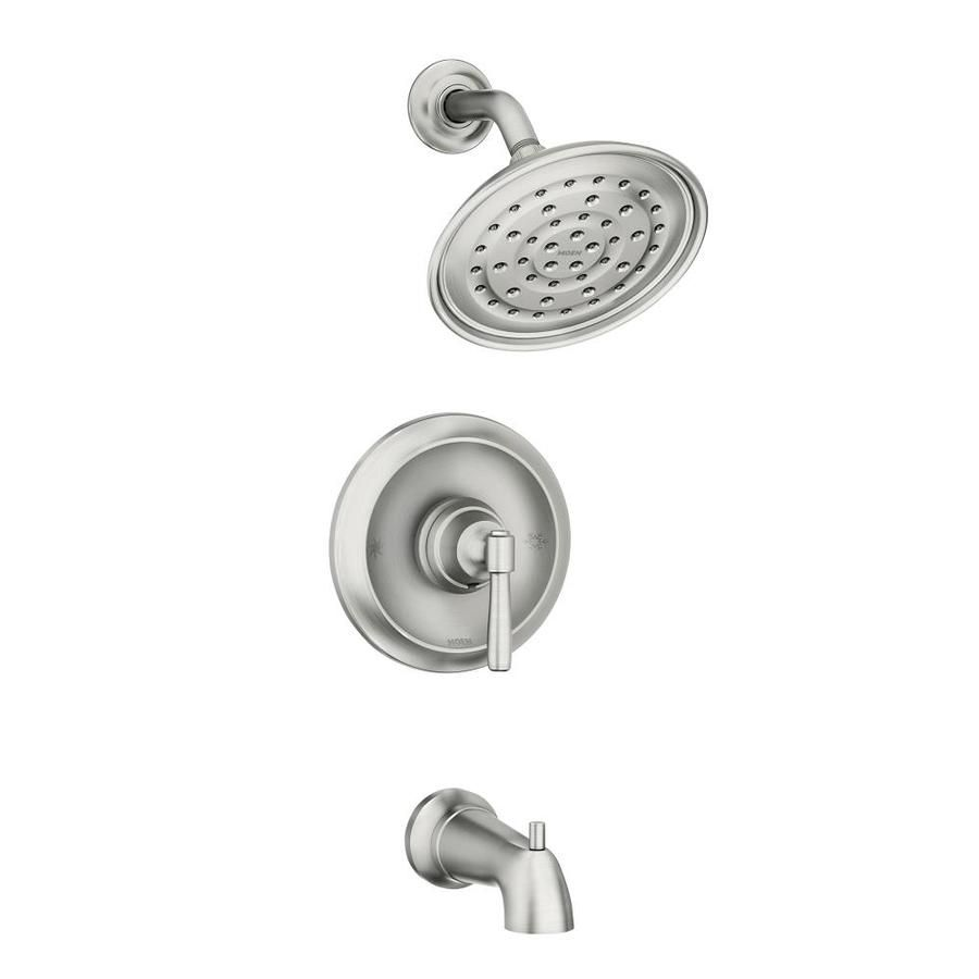 Moen Halle Spot Resist Brushed Nickel 1 Handle Bathtub And Shower Faucet With Valve At Lowes Com Shower Faucet Shower Tub Faucet