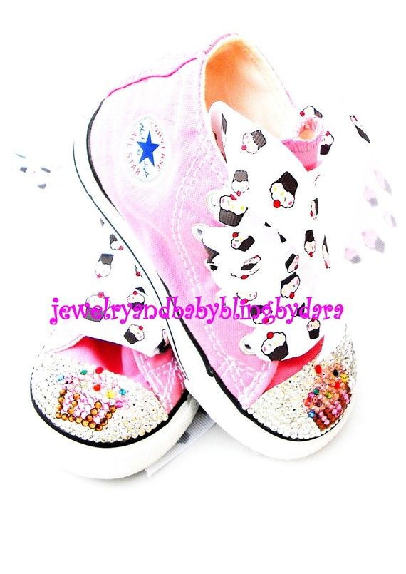 9b31ad749815af Infant Toddler CUPCAKE Swarovski Bling Converse Pink HiTop Crystal Sneakers  Shoes via Etsy