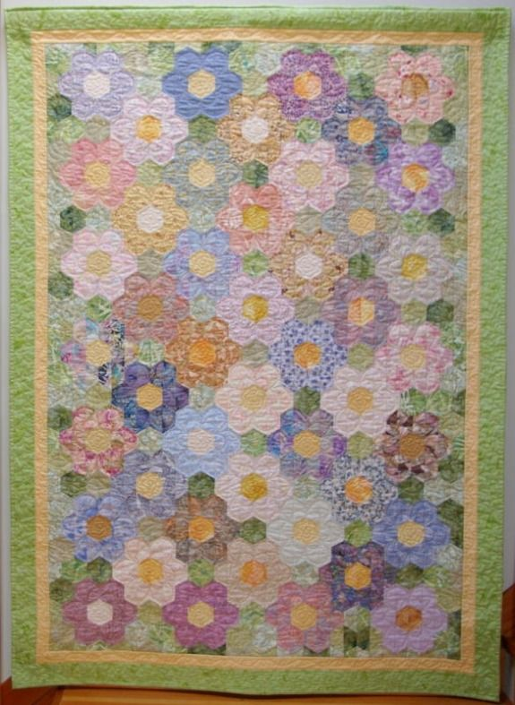 Grandmother/'s Flower Garden Quilt Block Sewing Pattern /& Clear Plastic Template