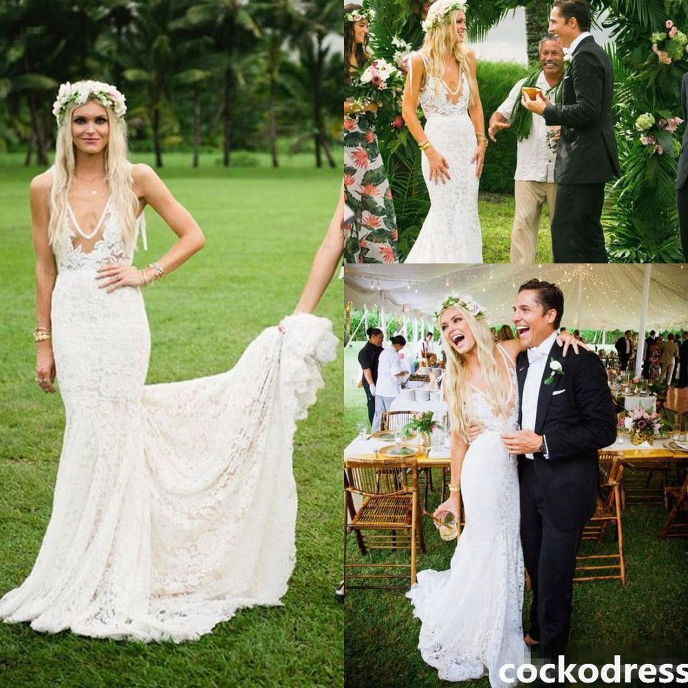 Elegant boho beach wedding dresses v neck lace bridal gowns sweep