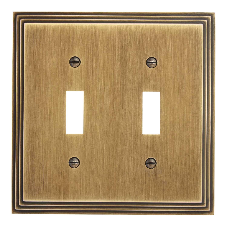Art deco zinc double switch plate products