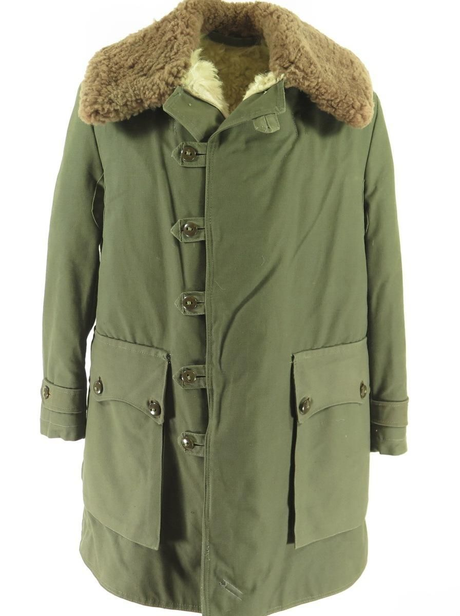 MILITARY 60s 70s solid color ARMY green VIETNAM jacket coat faux fur collar uqDuW