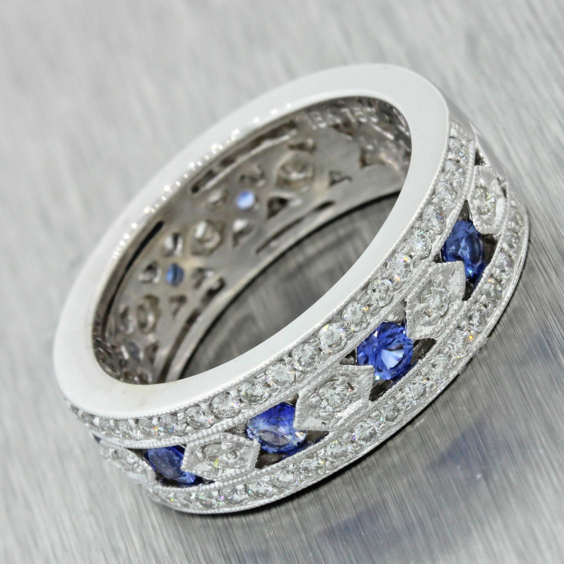 Vintage Estate 18k Sold White Gold 1ctw Diamond .50ctw Sapphire Wedding Ring