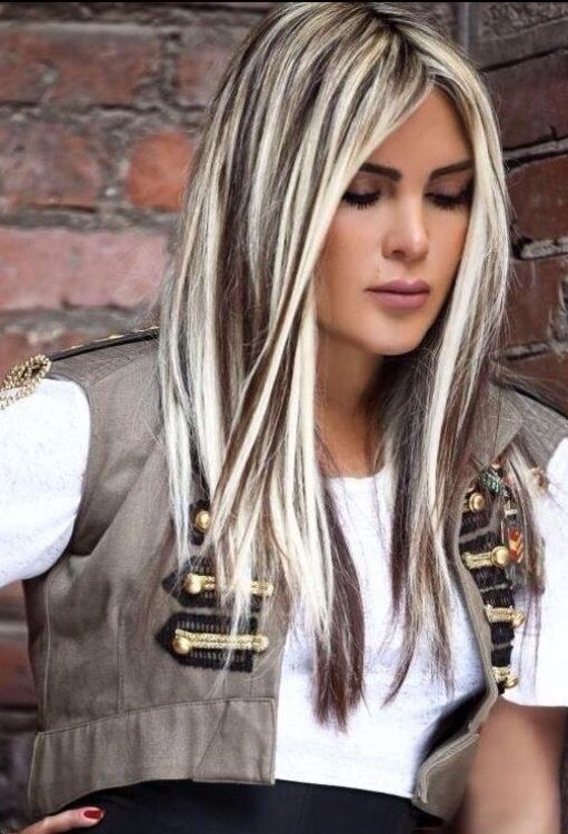 Dark Brown Black Hair With Heavy Platinum Highlights Blonde Hair
