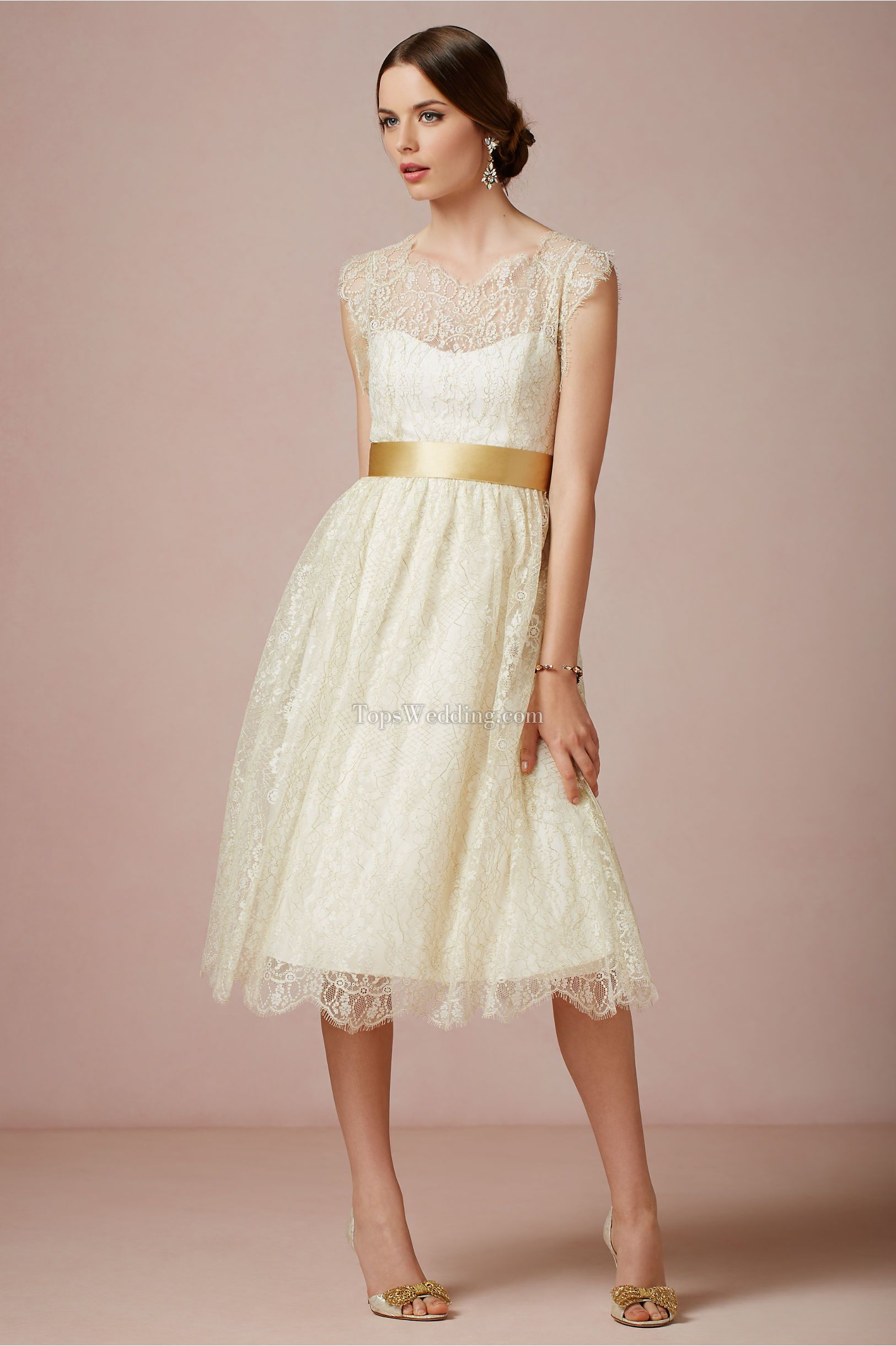 Cute short wedding dresses  Fashion Champagne lace Bridesmaid Dresses with cute sash