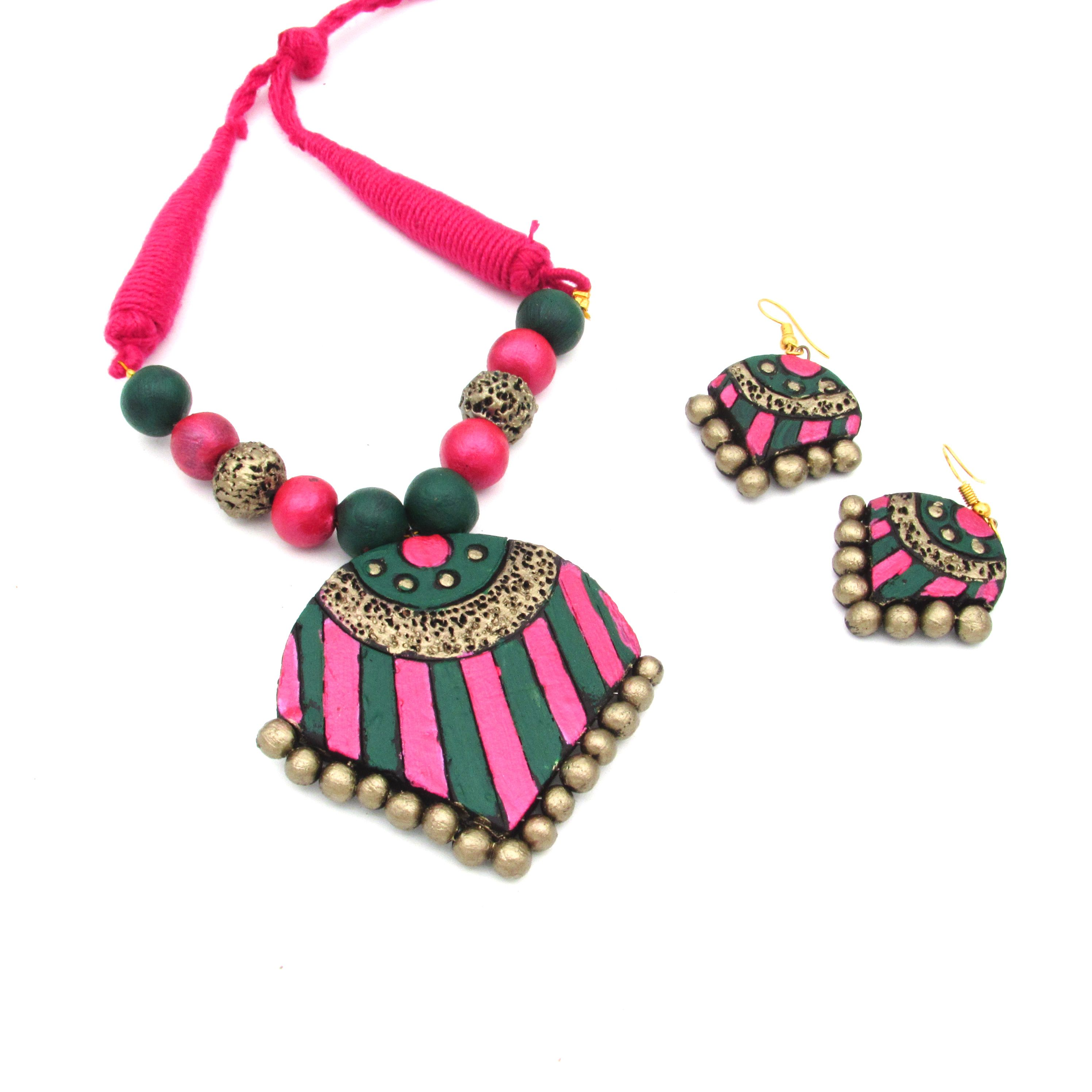Terracotta Necklace Set Terracotta Jewellery is one such a handmade jewellery which is widely famous all over the world Artisan can give any shape and design as per their...