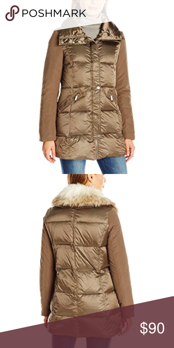 French Connection Women/'s Mixed Media Down Coat W// Faux Fur Collar,