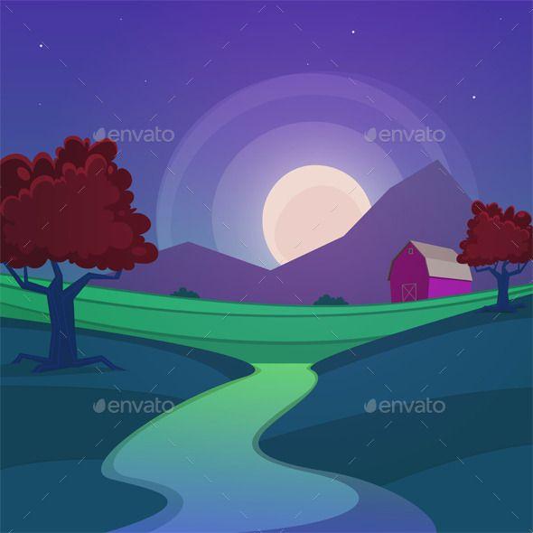 Night Farm Landscape Night Landscape Landscape Background Building Illustration