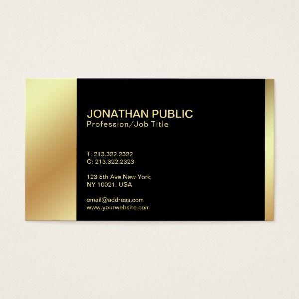 Modern elegant black gold professional plain business card custom modern elegant black gold professional plain business card custom professional business cards for teachers and tutors reheart Gallery