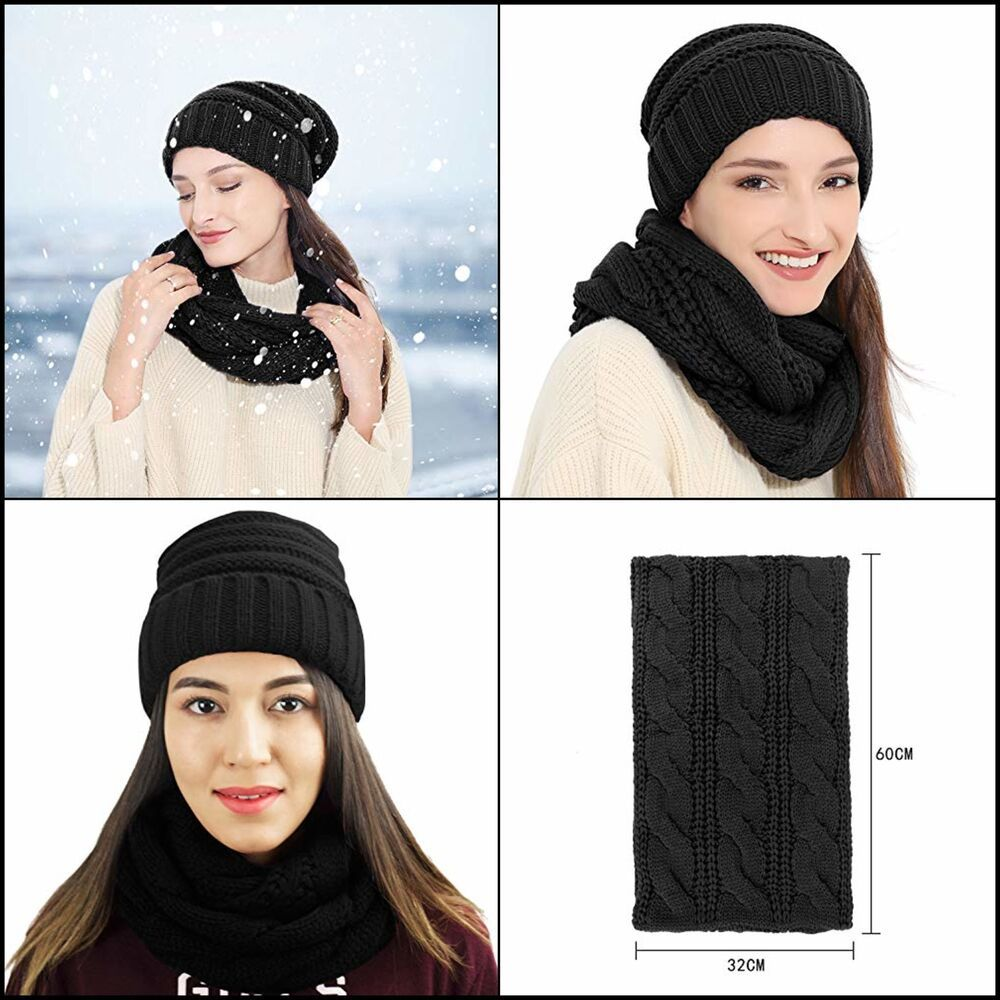 Knit Infinity Scarf Beanie Hat Set Women Winter Circle