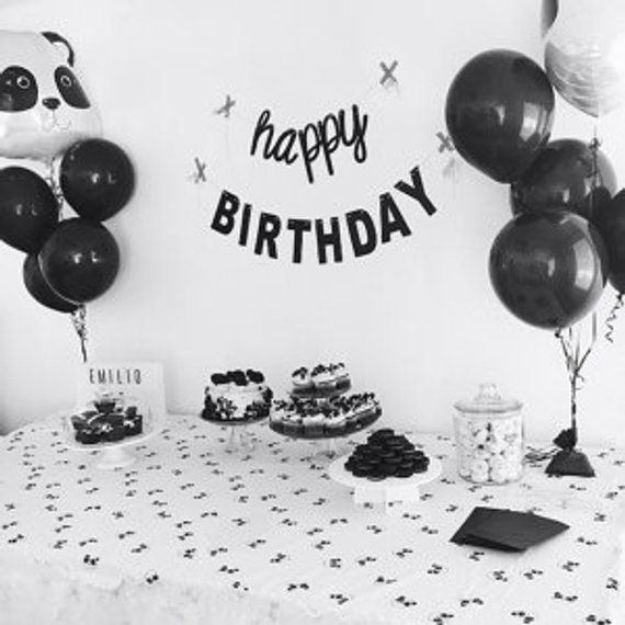 Black And White Birthday, Mantel Banner, Cursive Font
