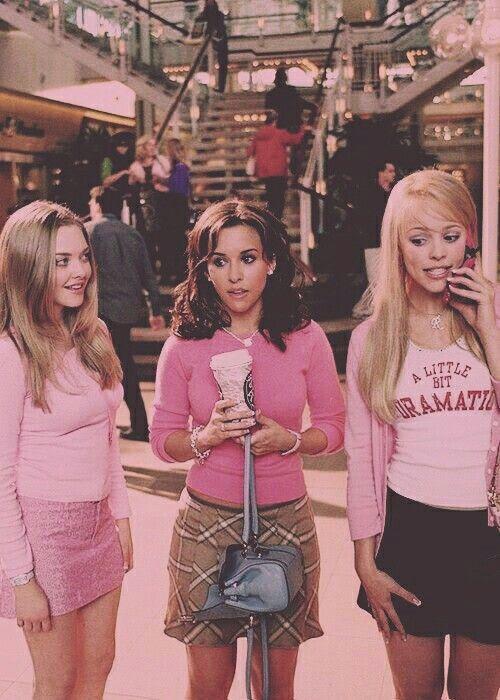 mean girls, vintage, throwback, skirts, pink, dramatic, blonde, brunette, coffee, starbucks, purse, bag, handbag, curls, malls, shopping, outfits, looks, ootds, plaid