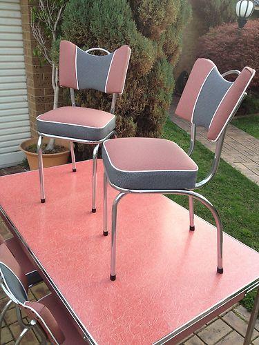 Vintage Retro Laminate Kitchen Dinning Table 4 Chairs
