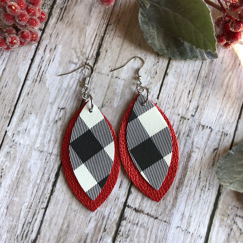 Large Petal Leather Earrings Buffalo Plaid Layered On Red Earrings Buffalo Plaid Layered Plaid Leather Earrings In 2020 With Images Diy Leather Earrings Leather Earrings Stud Earrings Unique