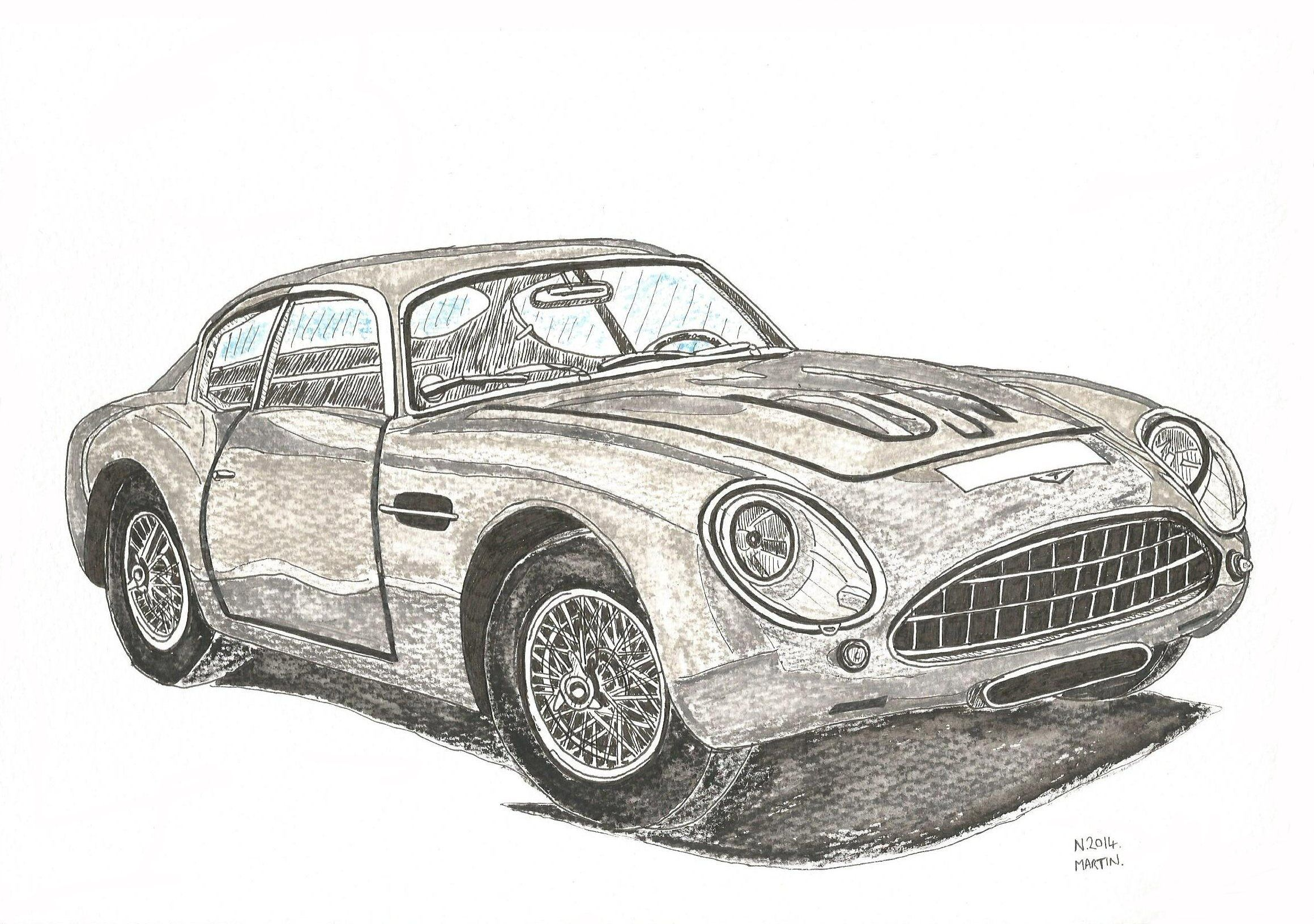 My Aston Martin DB4 Zagato hand-drawn drawing. I can also draw your ...