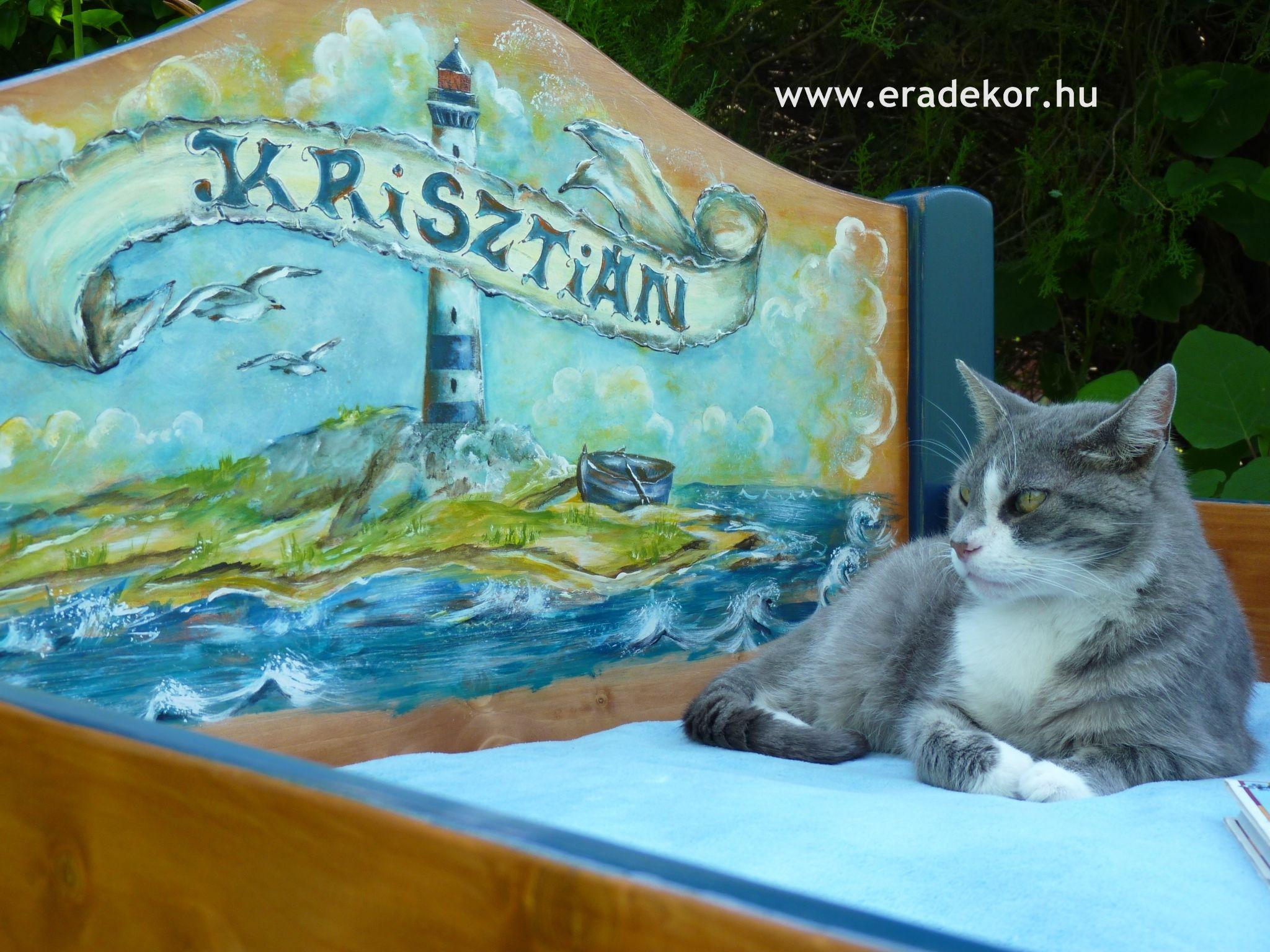Berci cica kedveli a klassz helyeket :) - Krisztián névreszóló tömörfenyő, hajós mintával festett gyerekágy. Fotó azonosító: AGYKRI04
