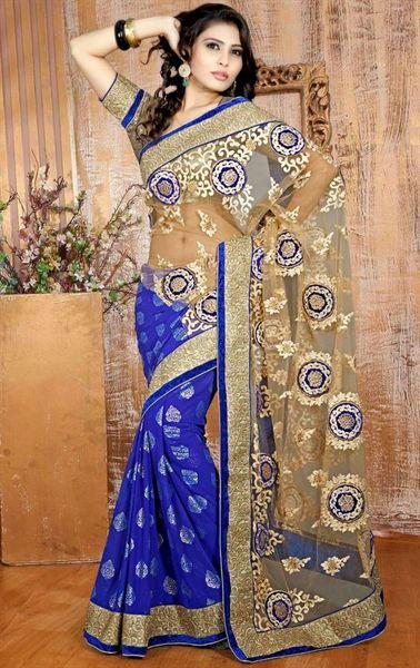 Picture of Unique Beige and Blue Color Designer Saree