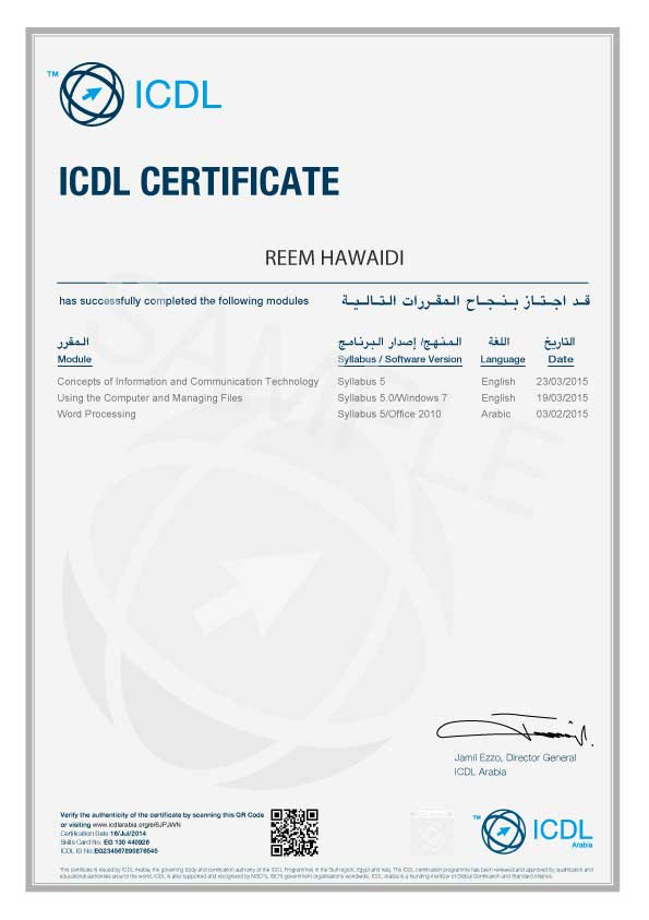Icdl Certificate Core Sample Cv Template Word Information And Communications Technology Words