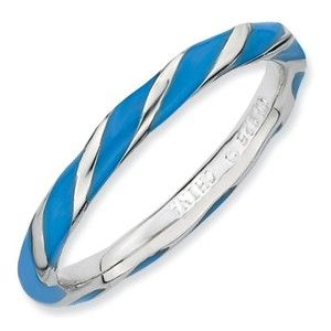 Sterling Silver Stackable Expressions Twisted Blue Enameled Ring - SalmaJewelry.com $39.36
