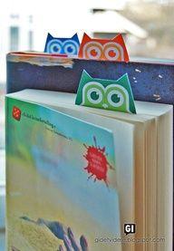 Printable OWL BOOKMARK!  Link: http://gidetvidere.blogspot.co.at/2012/04/bokugler-med-kort.html