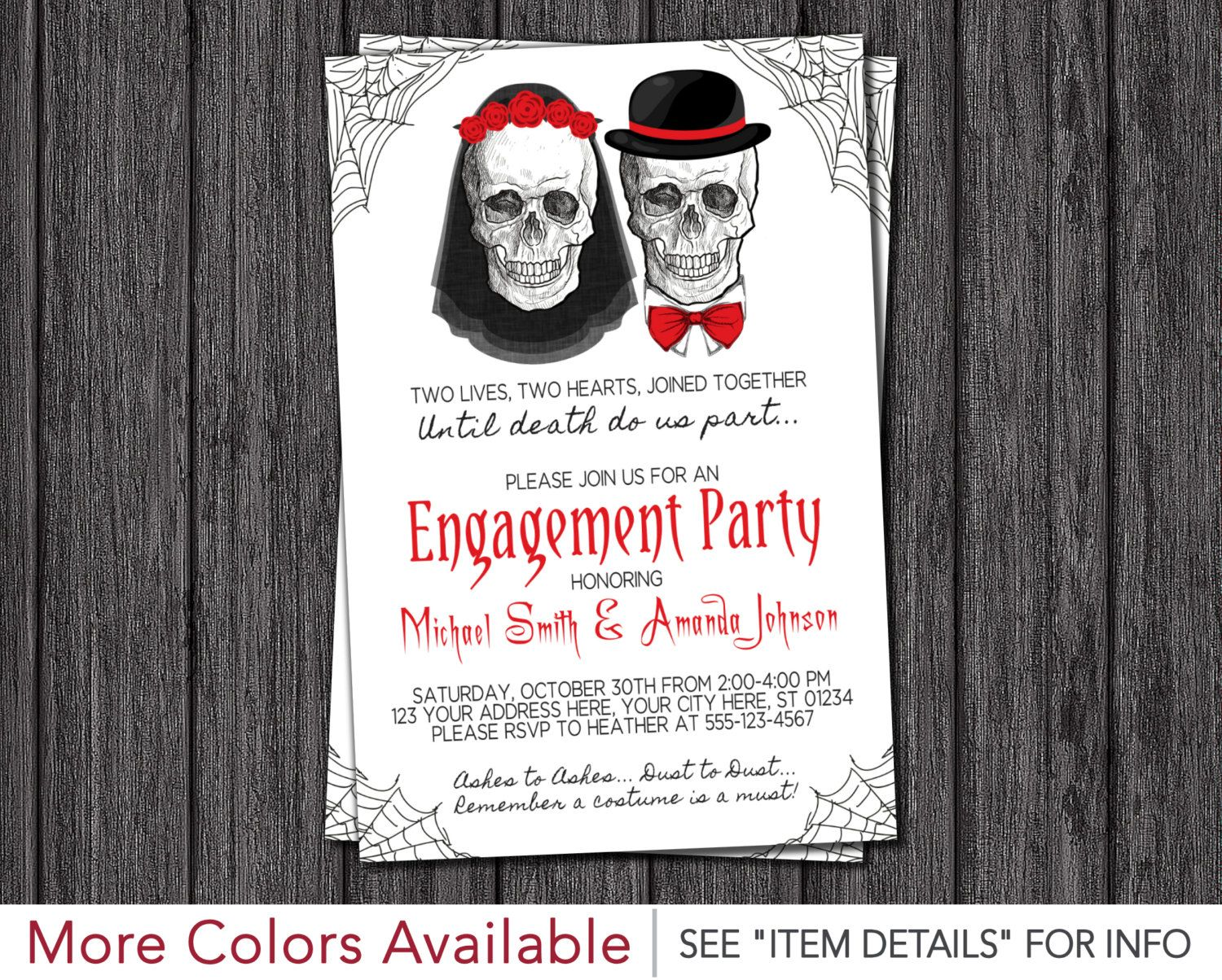 Halloween Engagement Party Invitation Skull Wedding Shower