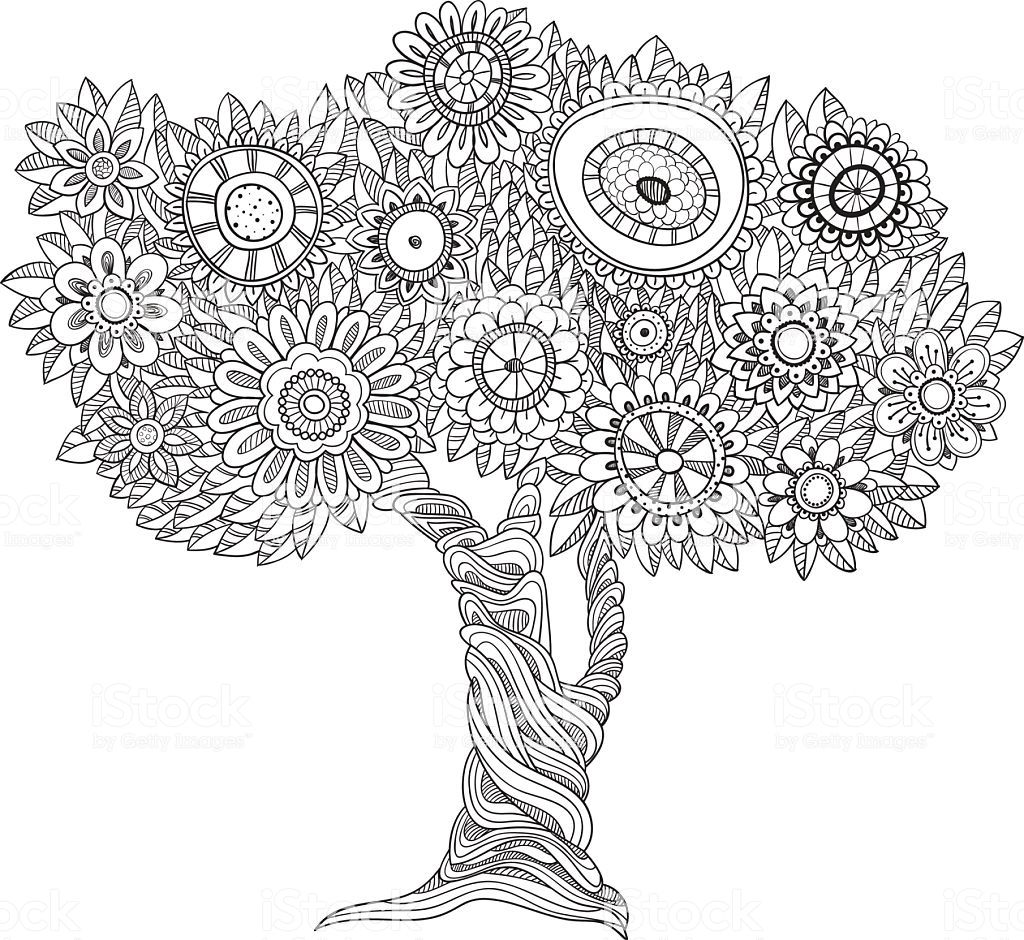 Floral Black And White Tree Could Be Use For Coloring Book Black And White Tree Floral Illustrations Abstract Tree