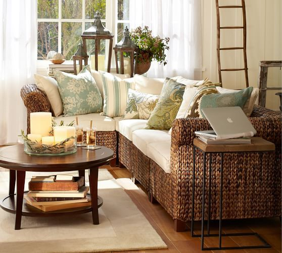 Build Your Own   Seagrass Roll Arm Sectional Components | Pottery Barn