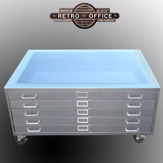 Vintage Steel Flat File Coffee Table   Fully Restored With Castors U0026 Glass.  $1,100.00, Via Etsy.